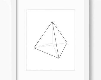 Geometric Print, Minimalist Art, Geometric Shape Print, Triangle Art, Black and White, Pyramid Art, Minimalist Print, Geometry Art, Math Art