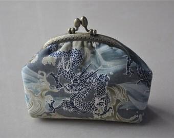 Japanese Fabric Clutch Wallet Kisslock Purse Metal Frame Bag