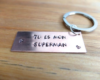 Keyring engraved customizable hand copper