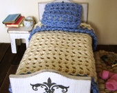 Dollhouse miniature quilt, bedspread and pillow, crochet miniature - 12th scale dollhouse accessory
