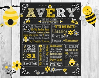Bumble Bee Grey Yellow White ChalkBoard Wall Art, Gray Bees 1st Birthday Poster, Chalk Board, Wallart Custom & Personalized