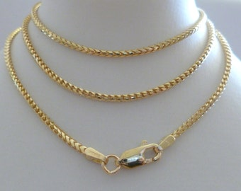 9ct Solid Yellow Gold Franco Chain Necklace, 1.5mm,  50cm's 20 Inches N123, 9k 375,10k, Gold Franco Chain, Men Women, Hallmarked, Custom