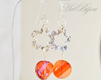 Crystal Earrings, Silver Earrings, Swarovski Earrings, Dangle Earrings, Swarovski Crystal, Orange Earrings, Gift Her, Gift Idea, Women Gift