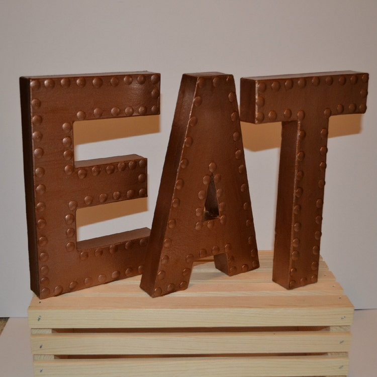 Kitchen wall decor eat sign eat letters by ellamurphydesigns for Kitchen letters decoration