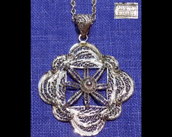 "Large VAN LOU STERLING Silver Filigree 2 7/16"" Pendant Flower/Snowflake & 23"" Long 925 Mexico Chain Necklace~boho~hippie~Mid-Century Vintage"