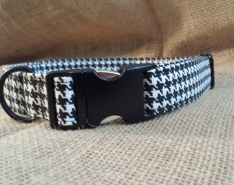 Black and White Houndstooth Buckle Collar