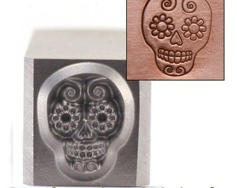 Sugar Skull Metal Design Stamp 6.5mm x 8mm - Metal Stamping / Punch Tools for Metal Stamped DIY Jewelry, Jewelry Making Tools (DS242)