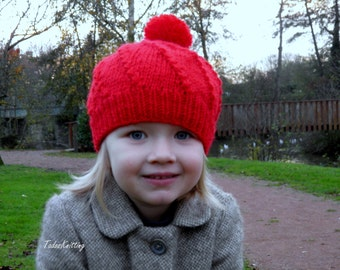 Little Red Cap  Hat and snood Knitting PDF Pattern (toddler, child, adult - size)