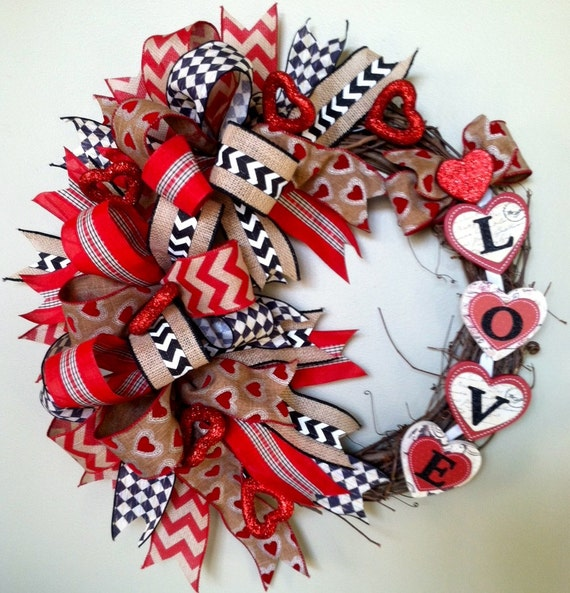 Valentine's Day Wreath Valentine Wreath Rustic Door