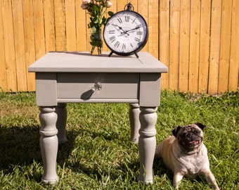 Gray shabby chic side table