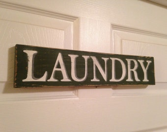 Laundry Sign-Customized Rustic Hand Painted Distressed Wood Sign