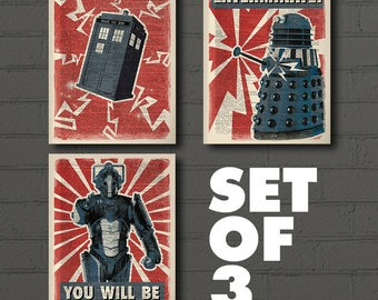 Cyberman + Tardis + Dalek _ SET OF 3_ Doctor Who Dictionary Art Print - Dr Who Poster, Dr Who Print,