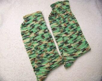 Superwash Wool/Nylon Socks in greens and browns