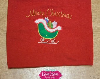 Merry Christmas Santa's Sleigh T-shirt, embroidered, applique