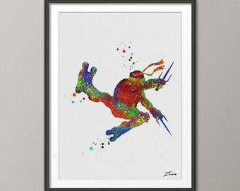 Teenage Mutant Ninja Turtles poster Ninja Turtles watercolor decor wall hanging Ninja Turtles gift  wall art decor children gift A047-4
