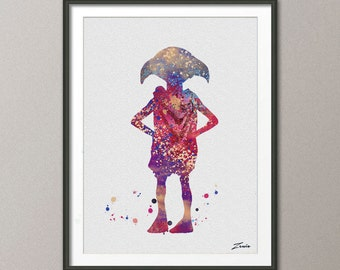 Harry potter , Harry potter poster,  Dobby poster Harry Potter Print Dobby Print illustration Kid Children Gift Wall Hanging A055-2