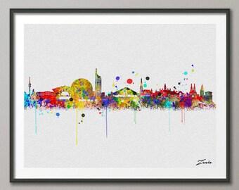 Wienna skyline, Wienna art, Wienna print, Wienna  painting,Wienna  watercolor, watercolor Wienna ,city watercolor,city Wienna A094-W