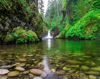 Punch Bowl Falls Photo, Oregon Waterfall Fine Art Print, Columbia River Gorge Scenic, Wall Art, Canvas Wrap, Home Decor, Green