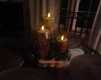 Round Cedar Candle Holder