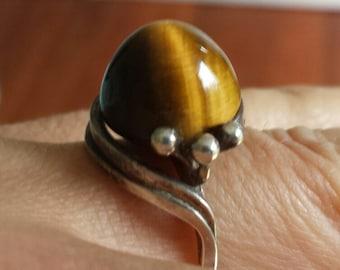 Tiger Eye ring set in sterling silver
