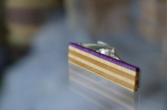 skateboard recycled wood tie clip