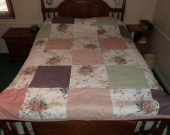 SALE: Upcycled Large Square, Floral/Pastel Quilt,  91 x 76 (part# 1009)
