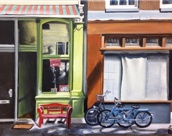 """Original storefront cityscape painting, bike painting, restaurant art, 11""""x14"""", """"Open Door"""""""