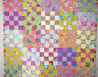 Floral 16-patch Polka-Dot Baby Quilt