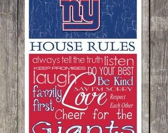 New York Giants House Rules 4x4.1/2 Fridge Magnet