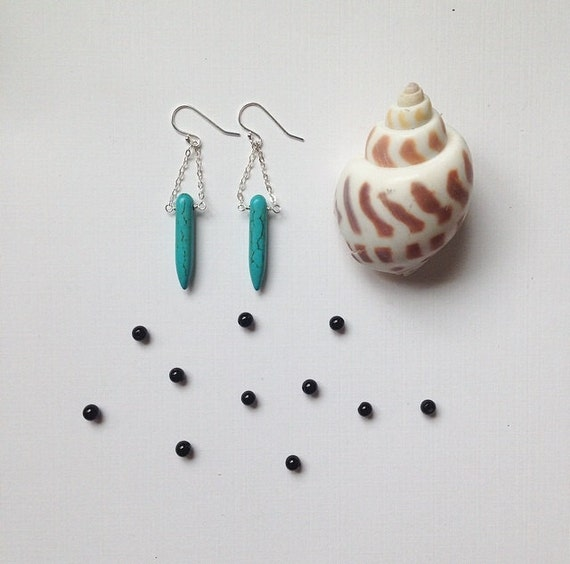 turquoise spike and sterling silver earrings ••• everyday boho jewelry