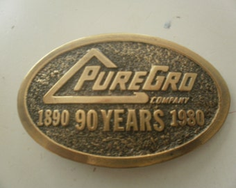 PureGro Belt Buckle 1980 Great American Buckle Co. Free Shipping