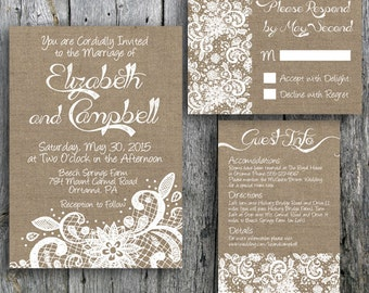 Printable Wedding Invitation Suite Lace and Burlap - Rustic Wedding Invitation, RSVP and Guest Information Card for print