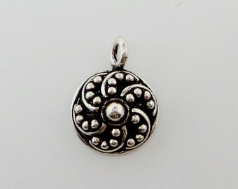 Bali solid 925 sterling silver pendant charm. Granulated. Oxidized. Handcrafted. Wholesale.  P43
