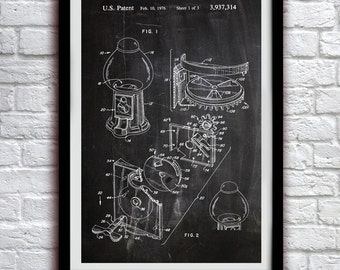 Gum Ball Machine 1966 - Patent Print Poster Wall Decor - 0045