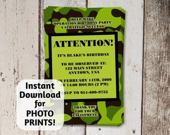 Boys Camo Party Army Camouflage Birthday Invitation - Instant file download - Can use to order photo prints! (printable on card stock, too!)