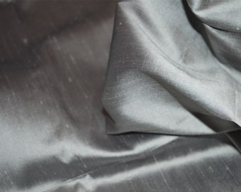 Pure Silk Dupioni, Pewter Grey Dupioni Silk Fabric by the Yard