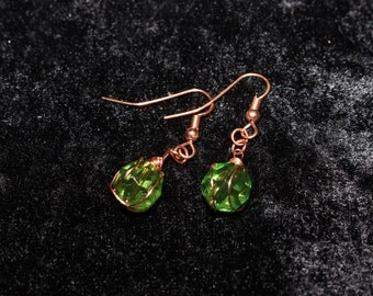 Copper and Green earring
