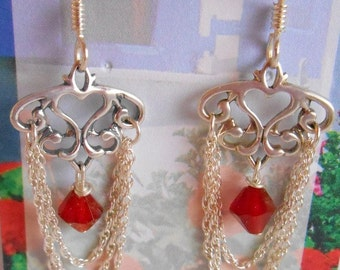 Garnet dangle earrings with sterling chain and ear wires.