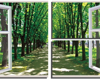 Framed 3-Panel Canvas Gallery Wrap Window View of Trees - Canvas Art