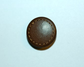 """5/8"""" Brown Leather Button w/ Stitched Rim. (16mm)"""