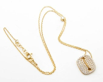 Sterling silver-gold plated pendant with zirgon and a thin neck chain 7054
