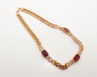 Vintage gold tone rhinestone necklace by CASCIO 7261 length 42,5cm.