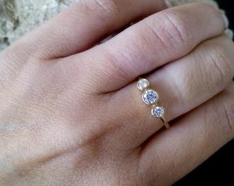 Wedding RingTriple Bezel Set Ringclear Quartz Ring Gold