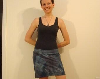 Hand Dyed Stretch Hemp Organic cotton Mini Skirt festival