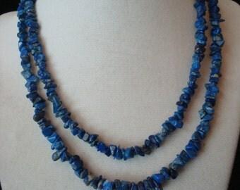 Vintage uncut blue stone necklace