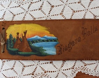 50s Niagara Falls hand-painted leather photo/memory album
