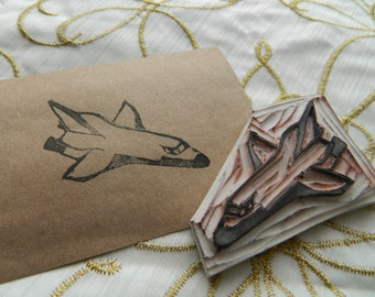 Hand Carved Space Shuttle Rubber Stamp