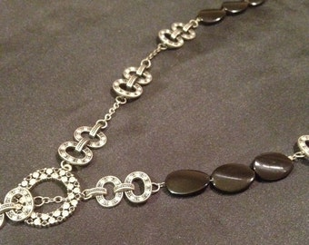 Rhinestone and Glass Bead long necklace with decorative toggle clasp
