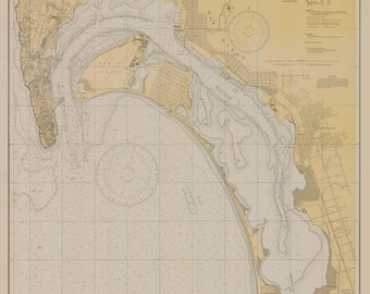 San Diego Bay Historical Map 1932