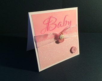Pink Sparkly Baby Card